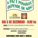 Participe da Caminhada da Paz no dia 05 de dezembro